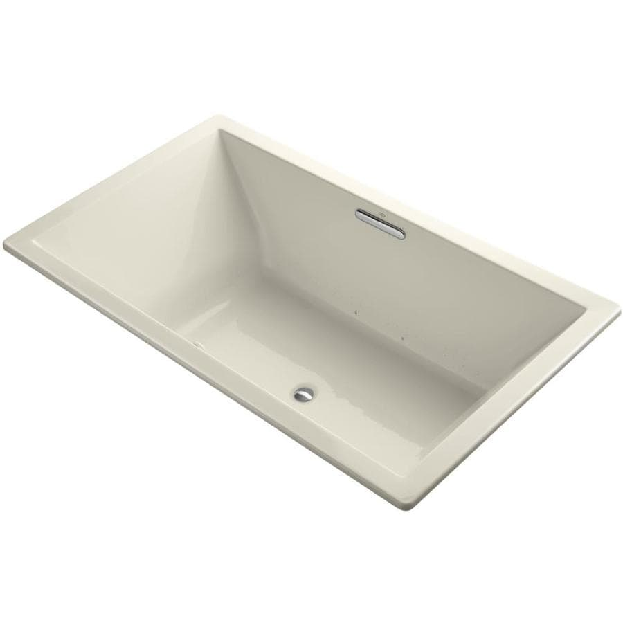 KOHLER Underscore 72-in Almond Acrylic Drop-In Air Bath with Center Drain