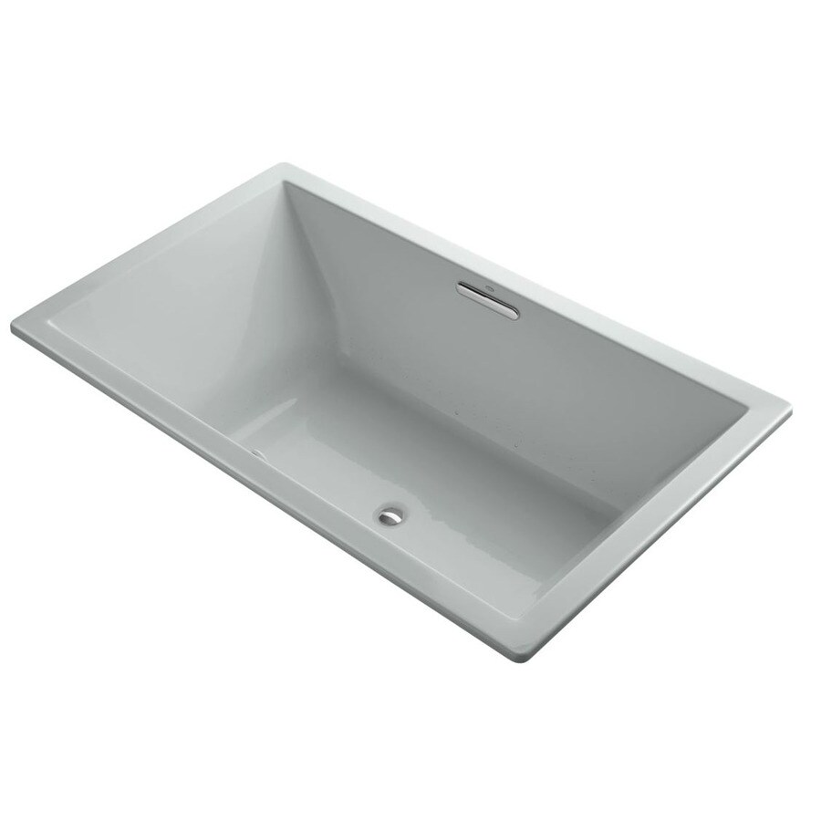 KOHLER Underscore 72-in Ice Grey Acrylic Drop-In Air Bath with Front Center Drain