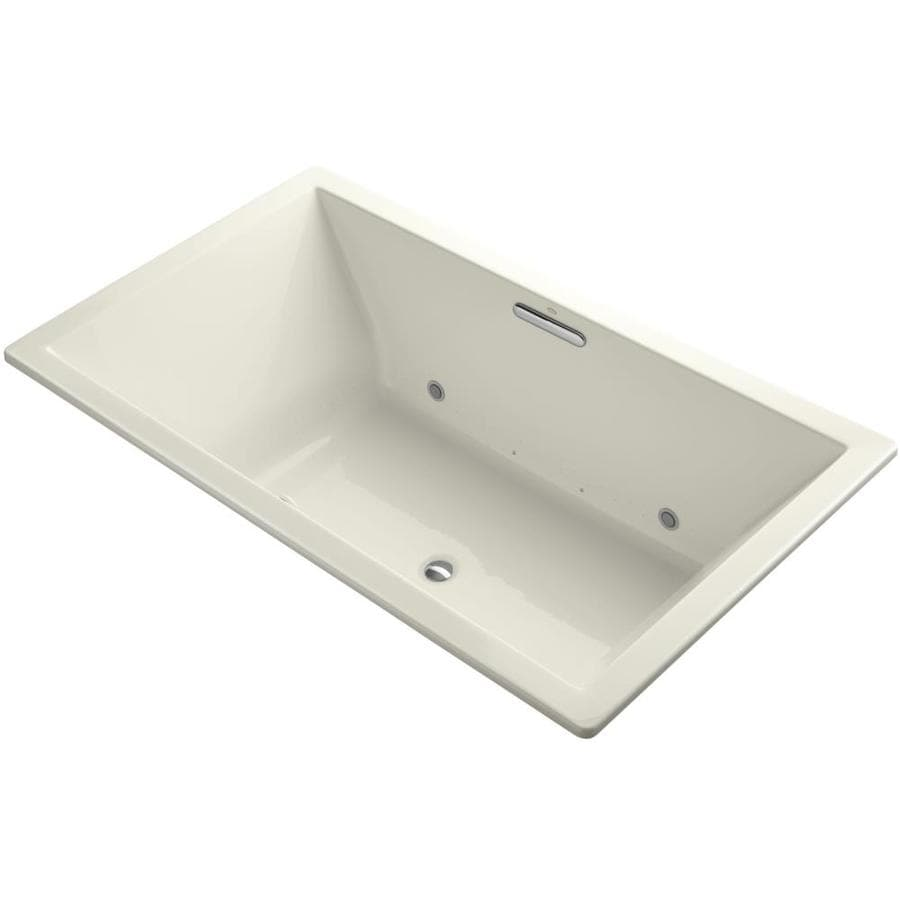 KOHLER Underscore 72-in Biscuit Acrylic Drop-In Air Bath with Center Drain