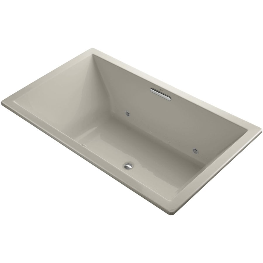 KOHLER Underscore 72-in Sandbar Acrylic Drop-In Air Bath with Center Drain