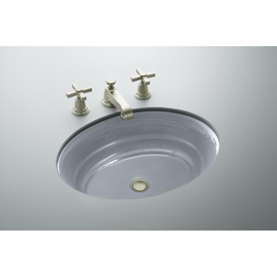 Shop Kohler Garamond Frost Cast Iron Undermount Oval Bathroom Sink At