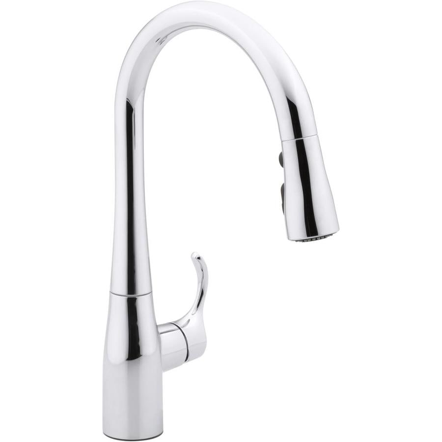 shop kohler simplice polished chrome 1 handle pull down kitchen faucet