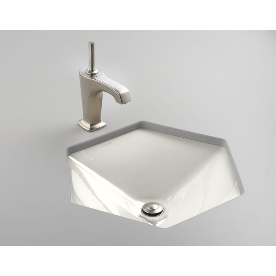 Shop Kohler Votive White Cast Iron Undermount Hexagonal Bathroom Sink At