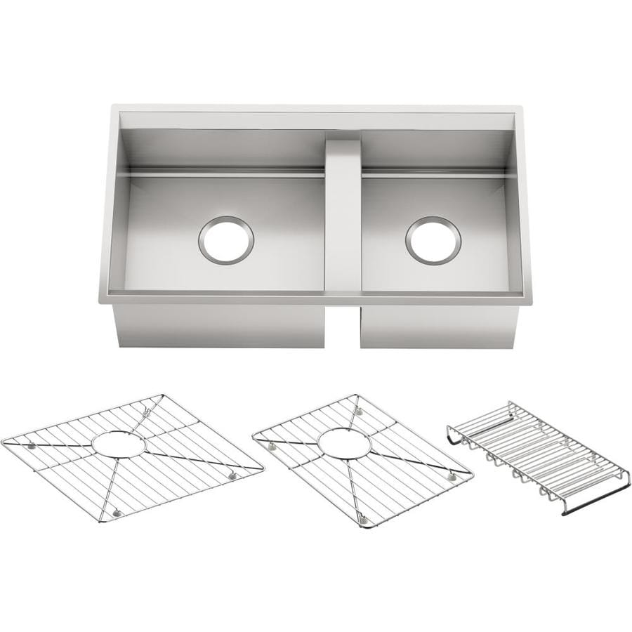KOHLER 8 Degree 18-in x 33-in Double-Basin Stainless Steel Undermount Residential Kitchen Sink Drainboard Included