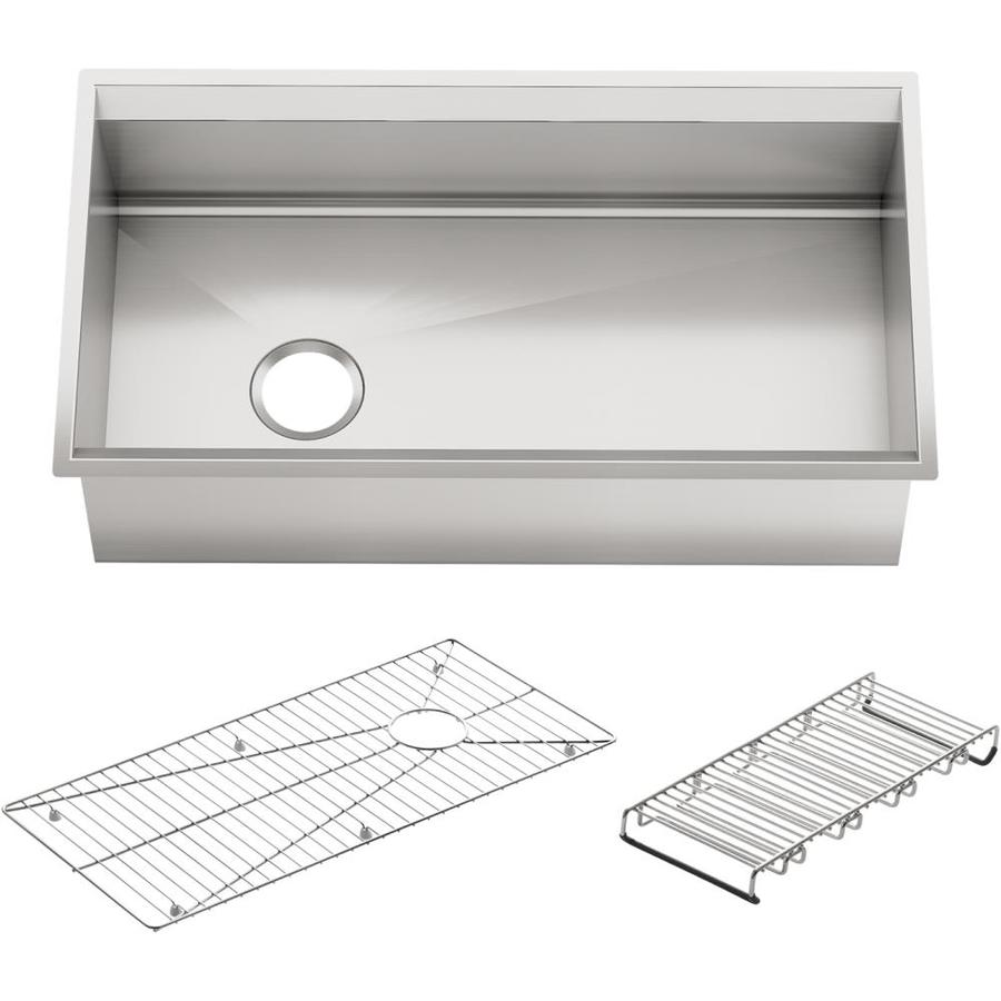 Shop KOHLER 8 Degree 18-in x 33-in Single-Basin Stainless Steel ...