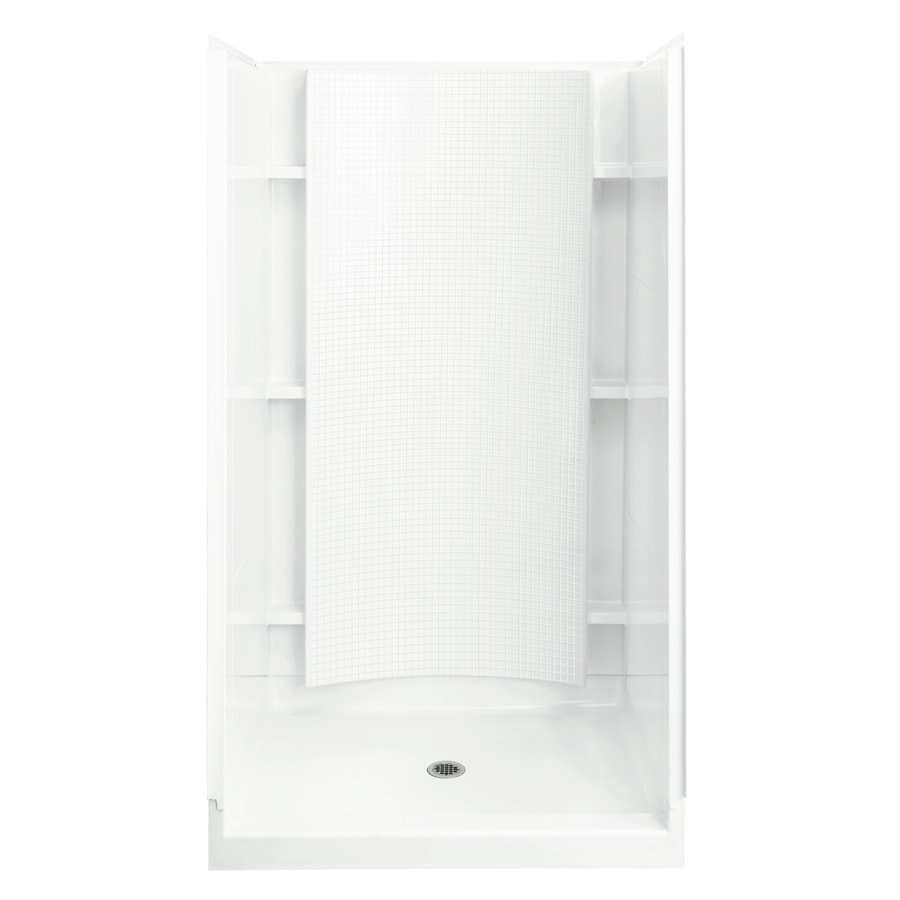 Shop Sterling White Vikrell Wall and Floor Alcove Shower ...
