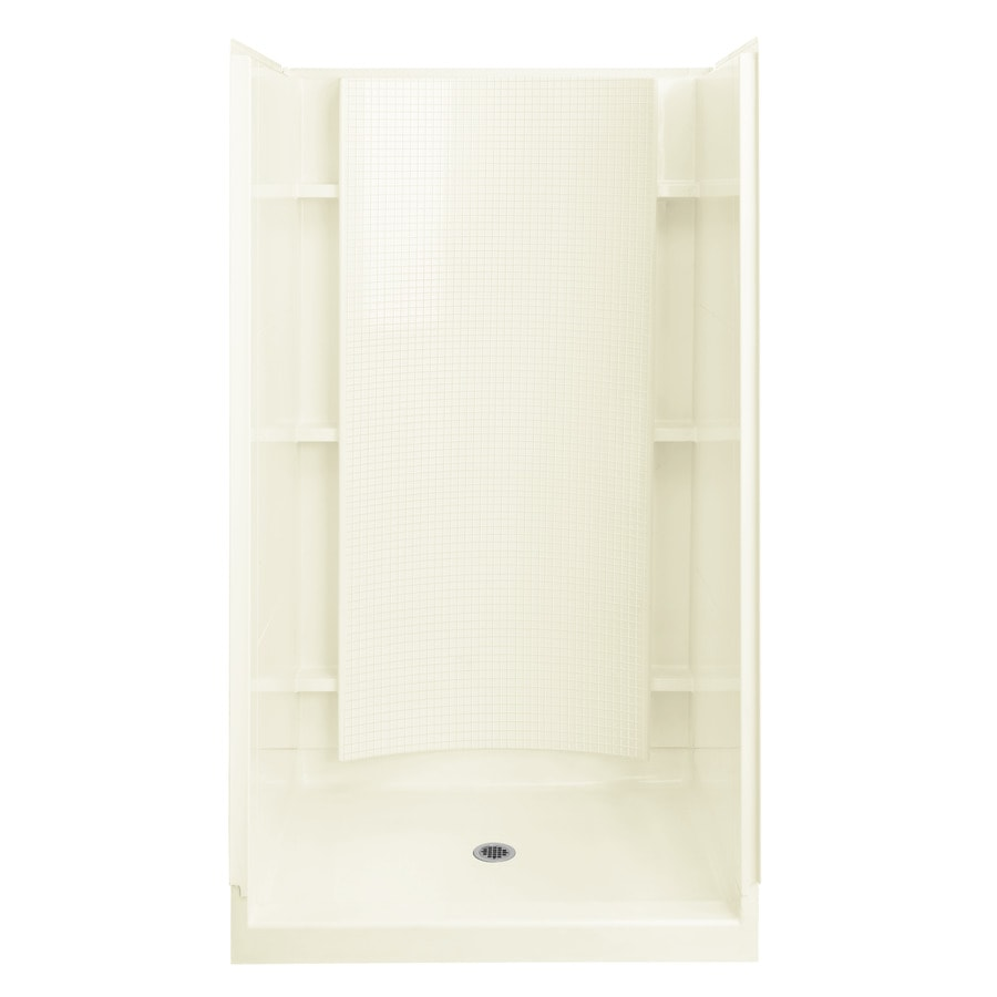 Sterling Accord Biscuit Vikrell Wall and Floor 4-Piece Alcove Shower Kit (Common: 36-in x 37-in; Actual: 77-in x 36-in x 36-in)