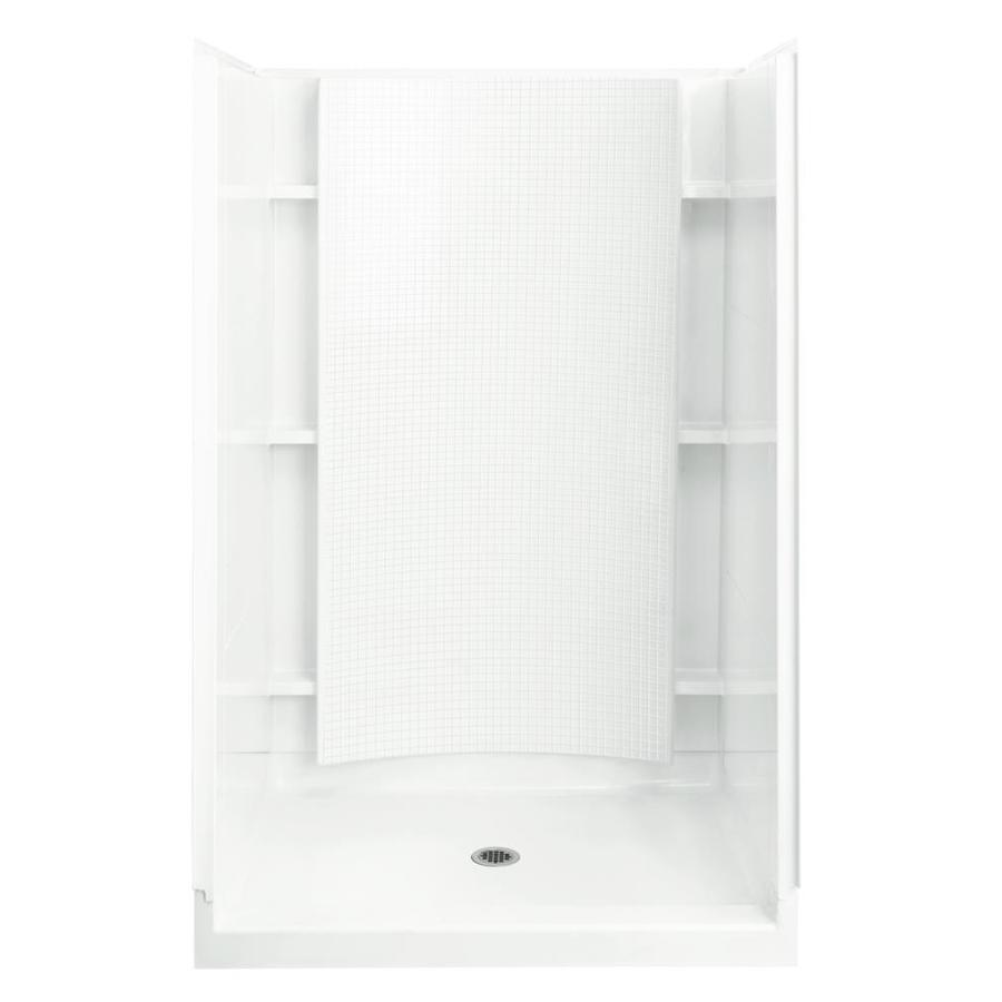 Sterling Accord White Wall Vikrell Floor 4-Piece Alcove Shower Kit (Common: 36-in x 48-in; Actual: 77-in x 36-in x 48-in)
