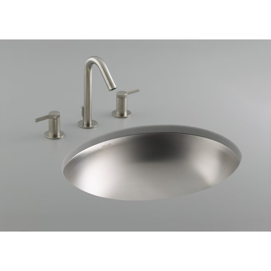 KOHLER Bachata Stainless Steel Stainless Steel Undermount Oval Bathroom Sink