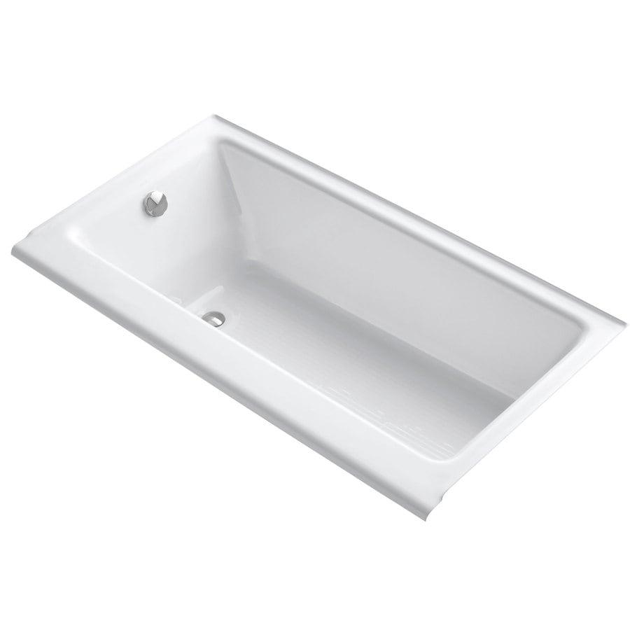 Kohler Bellwether White Cast Iron Rectangular Alcove Bathtub With Left Hand Drain Common
