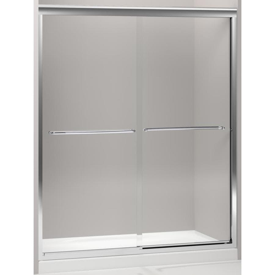 KOHLER Fluence 30.25-in to 59.625-in Frameless Bright Polished Silver Sliding Shower Door