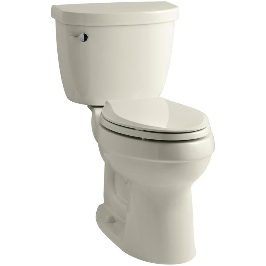KOHLER Cimarron 1.28-GPF Almond WaterSense Elongated Chair Height 2-Piece Toilet