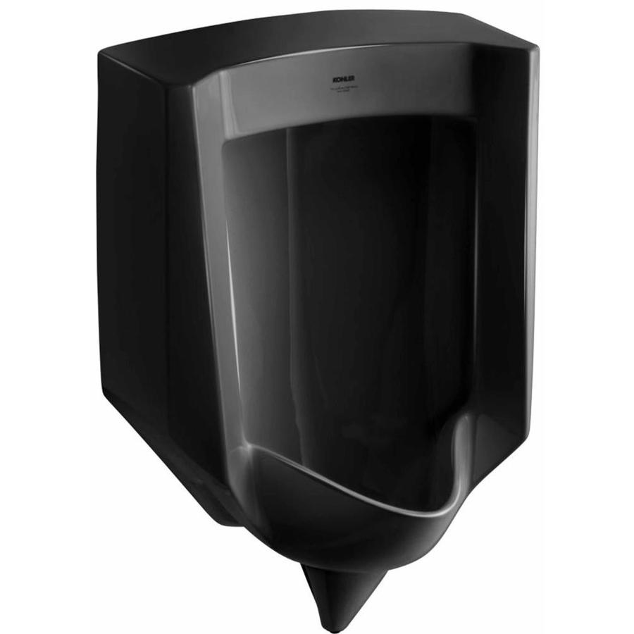 KOHLER 18.25-in W x 27.625-in H Black Black Wall-Mounted Urinal