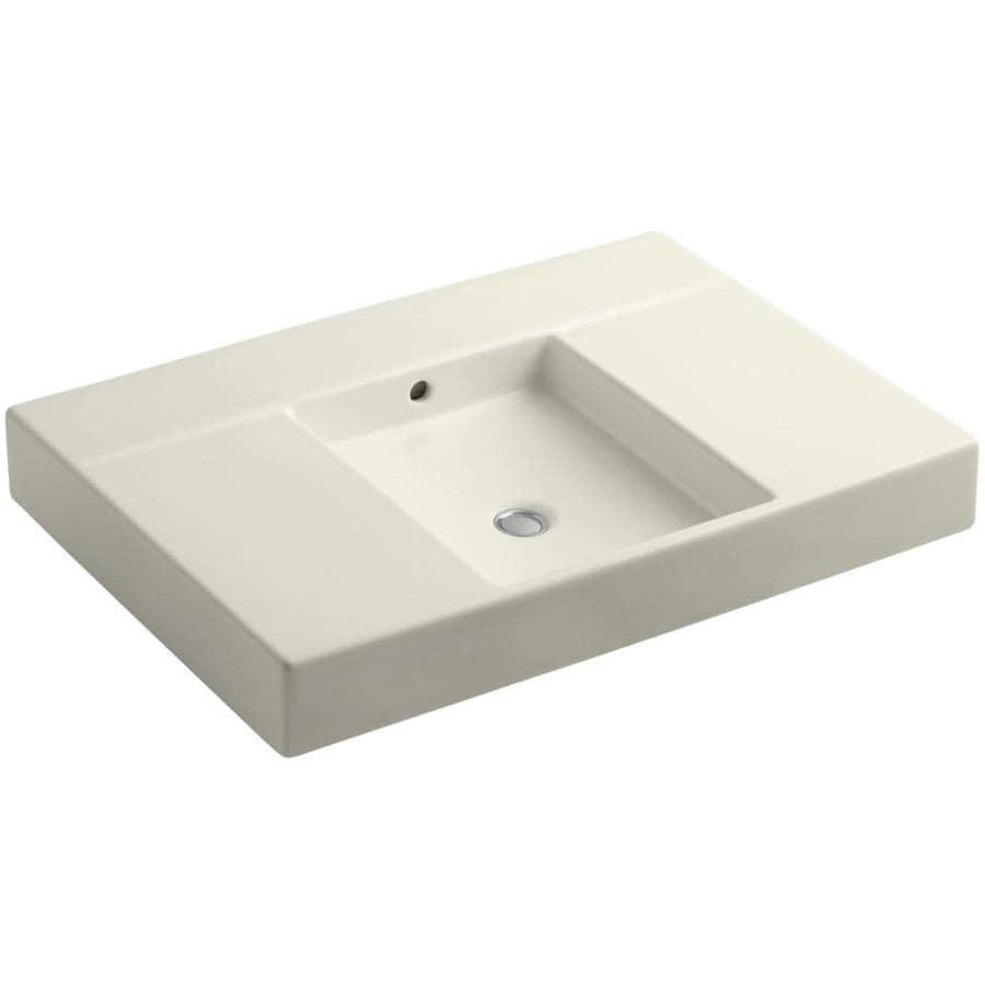 KOHLER Traverse Biscuit Fire Clay Vessel Rectangular Bathroom Sink with Overflow