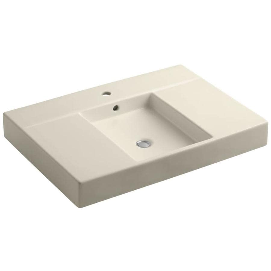 KOHLER Traverse Almond Fire Clay Vessel Rectangular Bathroom Sink with Overflow