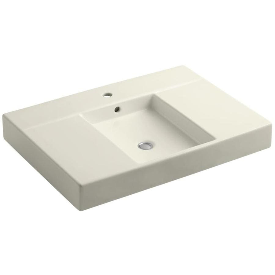 KOHLER Traverse Biscuit Fire Clay Vessel Rectangular Bathroom Sink with Overflow