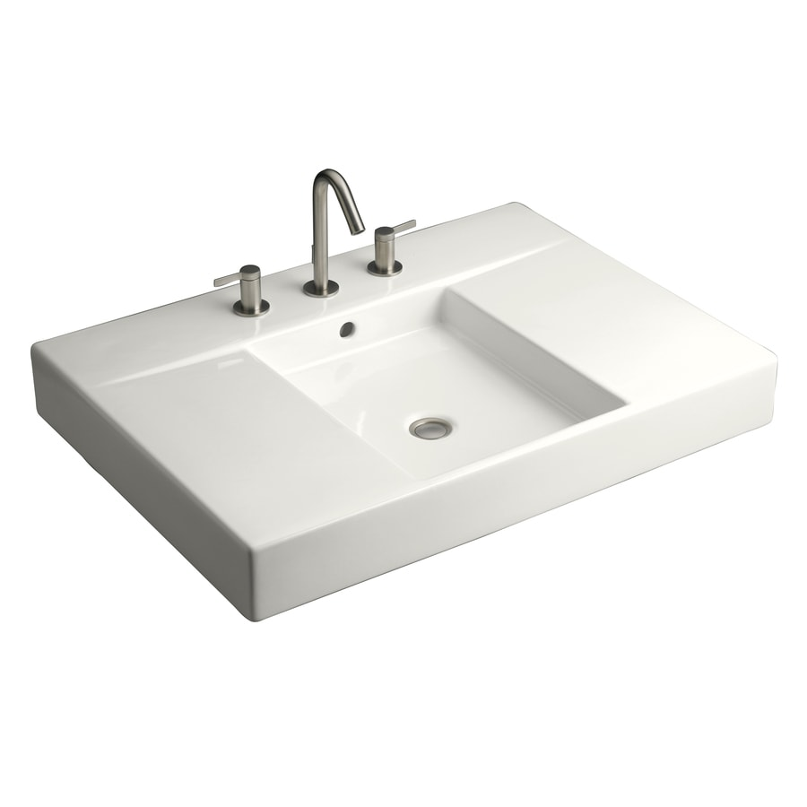 KOHLER Traverse White Fire Clay Drop-in Rectangular Bathroom Sink with Overflow