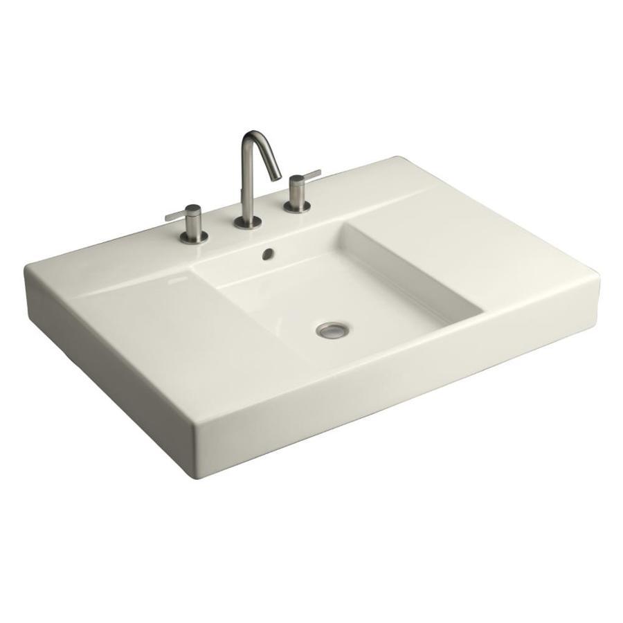 KOHLER Traverse Biscuit Fire Clay Integral Bathroom Vanity Top (Common: 31-in x 22-in; Actual: 30.5-in x 21.625-in)