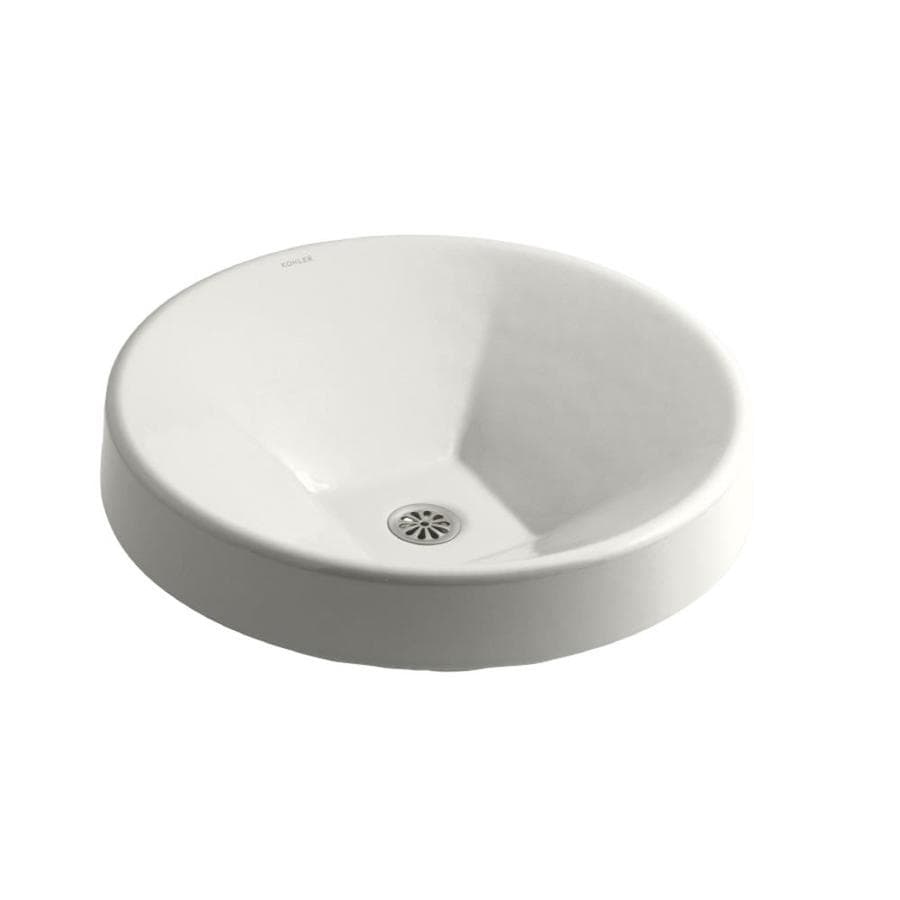 KOHLER Inscribe White Cast Iron Drop-in Round Bathroom Sink