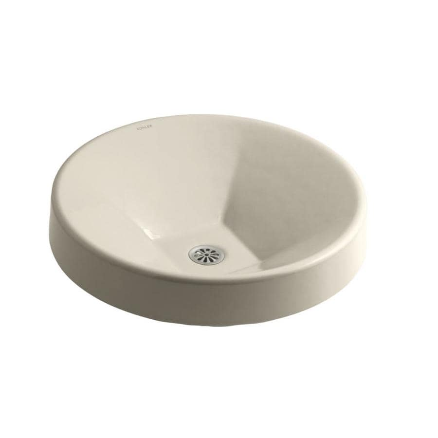Shop Kohler Inscribe Almond Cast Iron Drop In Round Bathroom Sink At