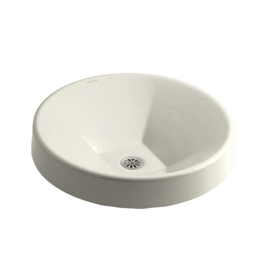KOHLER Inscribe Biscuit Cast Iron Drop-in Round Bathroom Sink
