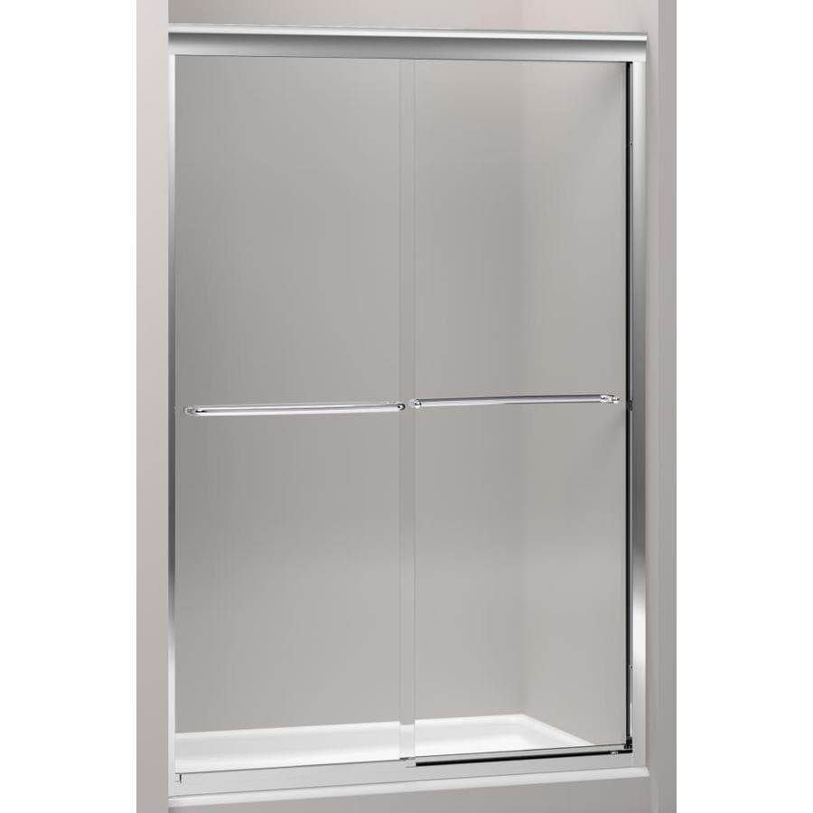 KOHLER Fluence 49-in to 52-in W Frameless Bright Polished Silver Sliding Shower Door