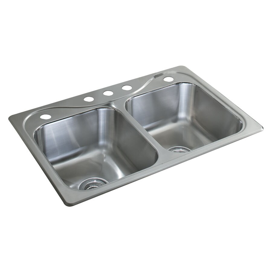 Shop sterling 5 hole double basin stainless steel topmount kitchen sterling 5 hole double basin stainless steel topmount kitchen sink workwithnaturefo