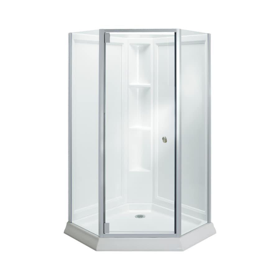 corner shower kits with walls. Sterling Solitaire White Wall High impact Polystyrene Floor Neo angle  4 Piece Corner Shop Shower Kits at Lowes com