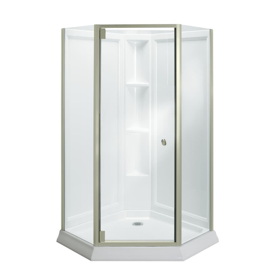 Sterling Solitaire White Wall High-impact Polystyrene Floor Neo-angle 4-Piece Corner Shower Kit (Actual: 78.25-in x 42-in x 42-in)