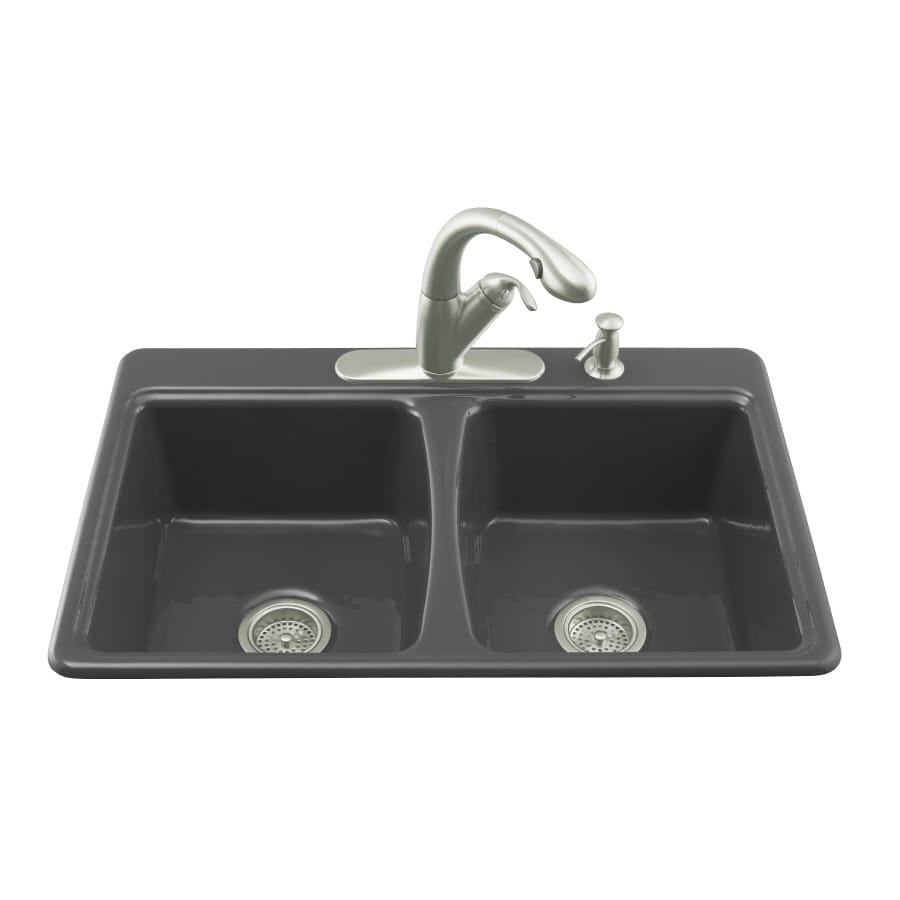 KOHLER Deerfield 22-in x 33-in Black Black Double-Basin Cast Iron Drop ...