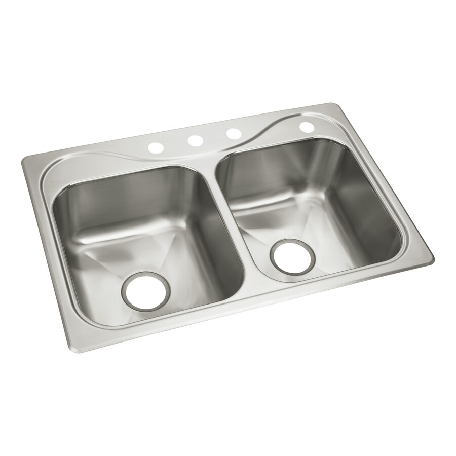 Sterling Southhaven 22-in x 33-in Stainless Steel Single-Basin-Basin Stainless Steel Drop-in 4-Hole Commercial/Residential Kitchen Sink
