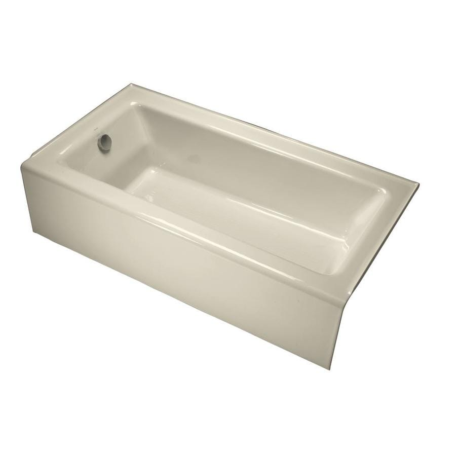 Kohler Bellwether 60 In Almond Cast Iron Rectangular Left