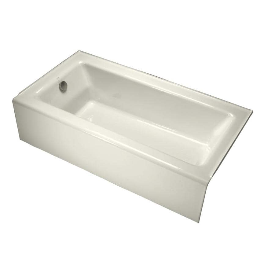 Kohler Bellwether 60 In Biscuit Cast Iron Rectangular Left Hand Drain Alcove Bathtub