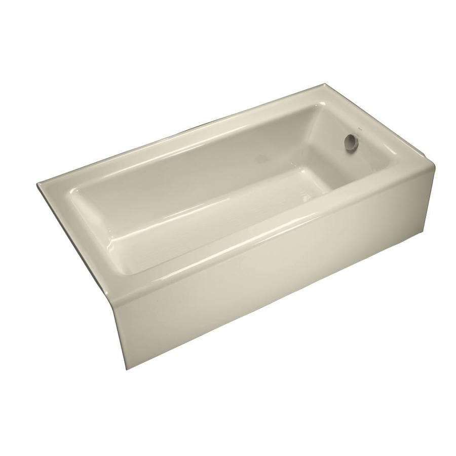 kohler bellwether almond cast iron rectangular skirted bathtub with