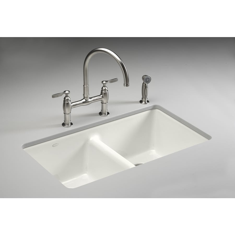 cast iron kitchen sinks undermount shop kohler anthem basin undermount enameled cast 8066