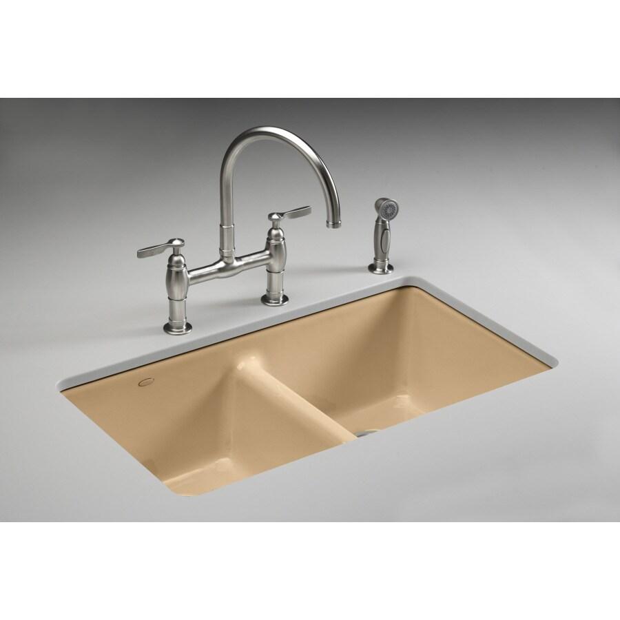 Kohler Undermount Kitchen Sinks Lowes: Shop KOHLER Mexican Sand 5-Hole Double-Basin Cast Iron
