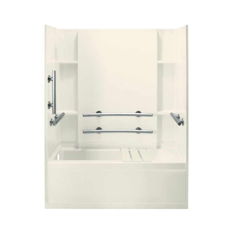 Sterling Skirted 60-in Biscuit Vikrell Alcove Bathtub with Left-Hand Drain