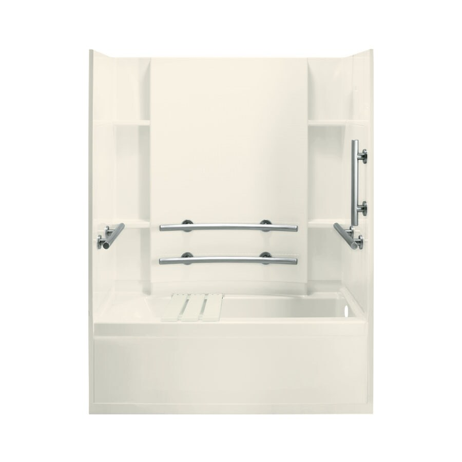Sterling Skirted Biscuit Fiberglass and Plastic Composite Rectangular Skirted Bathtub with Right-Hand Drain (Common: 32-in x 60-in; Actual: 74-in x 32-in x 60.25-in)