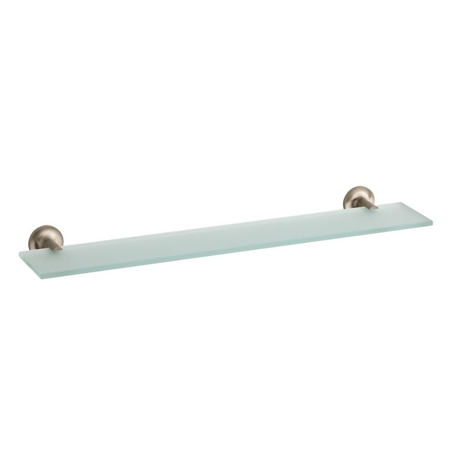 KOHLER Purist 1-Tier Vibrant Brushed Bronze Glass Bathroom Shelf