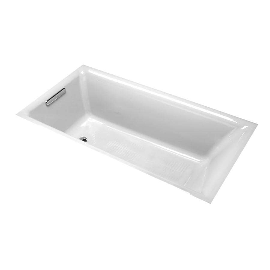 KOHLER Parity White Cast Iron Rectangular Drop-in Bathtub with Reversible Drain (Common: 33-in x 66-in; Actual: 18-in x 32.3125-in x 65.875-in)