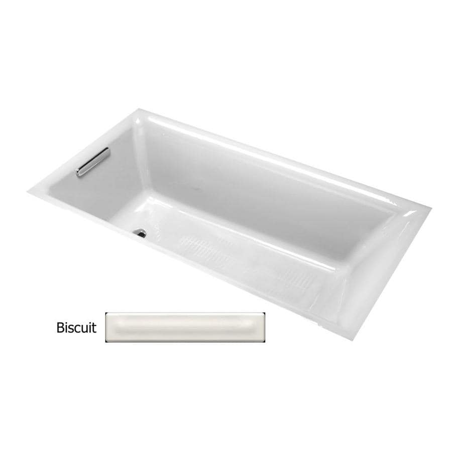 KOHLER Parity Biscuit Cast Iron Rectangular Drop-in Bathtub with Reversible Drain (Common: 33-in x 66-in; Actual: 18-in x 32.3125-in x 65.875-in)