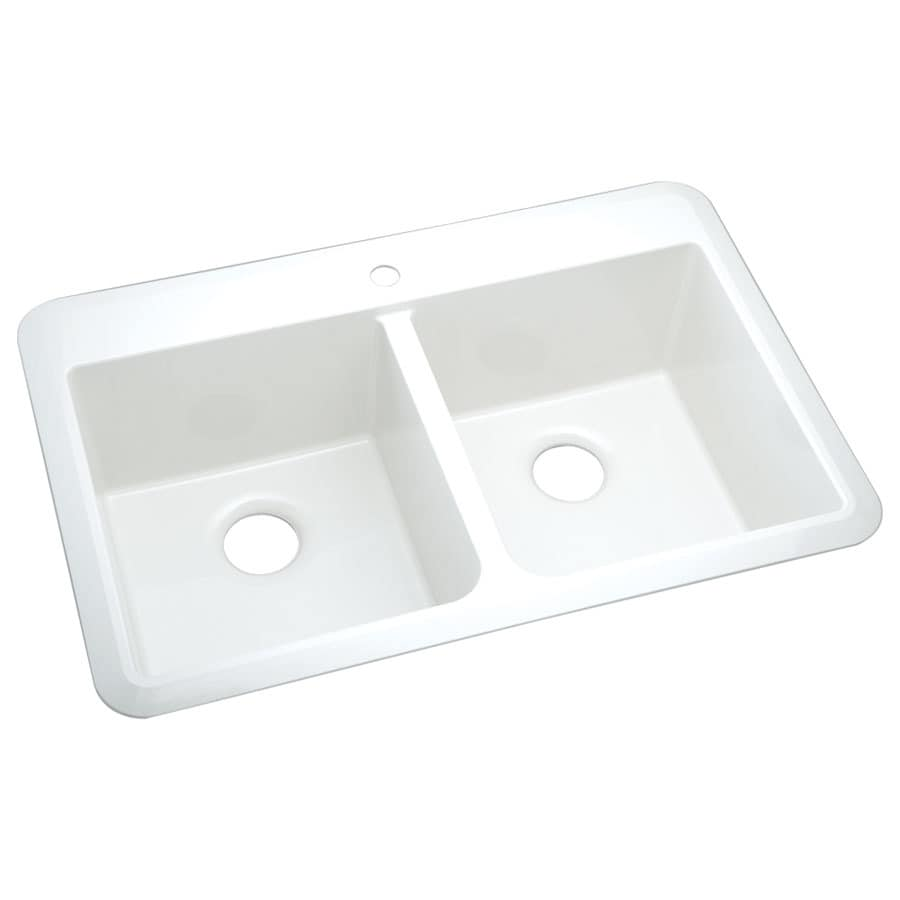 Sterling Slope 22-in x 33-in White Double-Basin Composite Drop-In or Undermount 1-Hole Residential Kitchen Sink