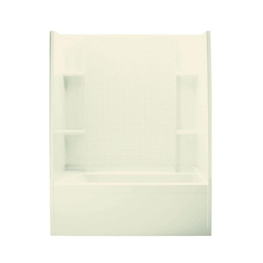 Sterling Accord Biscuit Vikrell Wall and Floor 4-Piece Alcove Shower Kit with Bathtub (Common: 36-in x 60-in; Actual: 76-in x 36-in x 60-in)