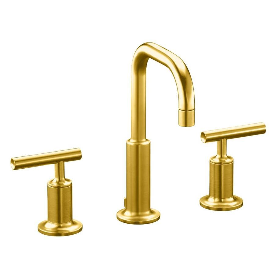 Kohler Purist Vibrant Modern Brushed Gold 1 Handle Single Hole Watersense  Bathroom Faucet Drain
