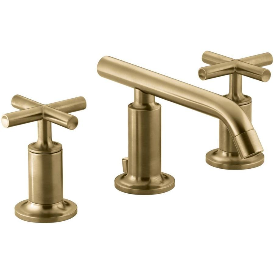 Shop Kohler Purist Vibrant Moderne Brushed Gold 2 Handle Widespread Commercial Bathroom Sink