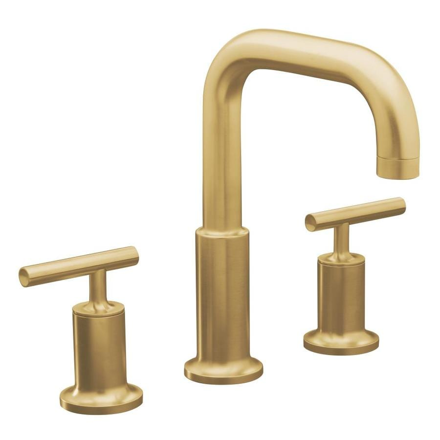 ... Vibrant Moderne Brushed Gold 2-Handle Fixed Deck Mount Bathtub Faucet