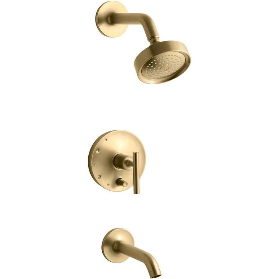 KOHLER Purist Vibrant Moderne Brushed Gold 1-Handle Bathtub and Shower Faucet Trim Kit with Single Function Showerhead