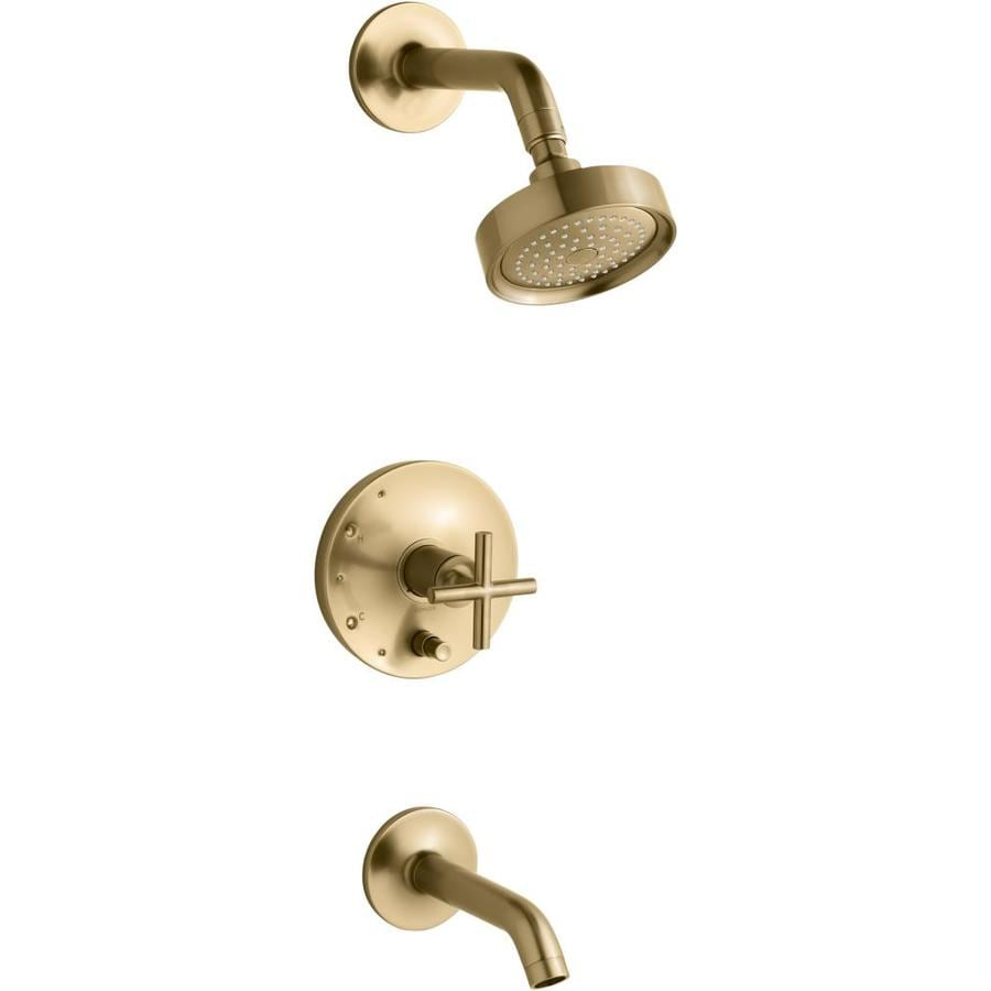 Shop Kohler Purist Vibrant Moderne Brushed Gold 1 Handle Bathtub And Shower Faucet Trim Kit With