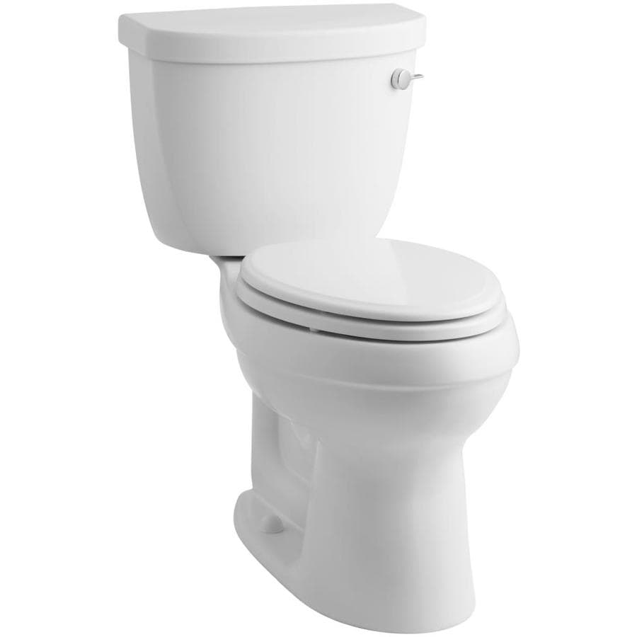 KOHLER Cimarron White  Elongated Chair Height 2-piece Toilet 12-in Rough-In Size