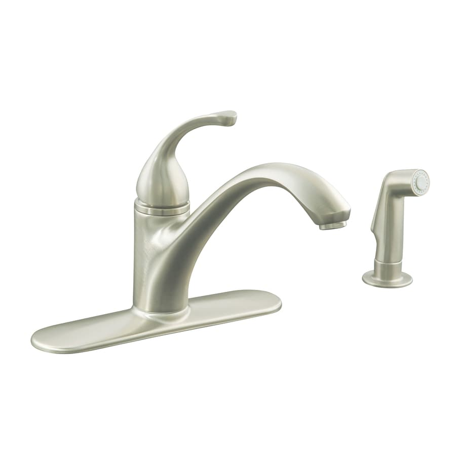 Low Arc Kitchen Faucet Shop Kohler Forte Vibrant Brushed Nickel 1 Handle Low Arc Kitchen